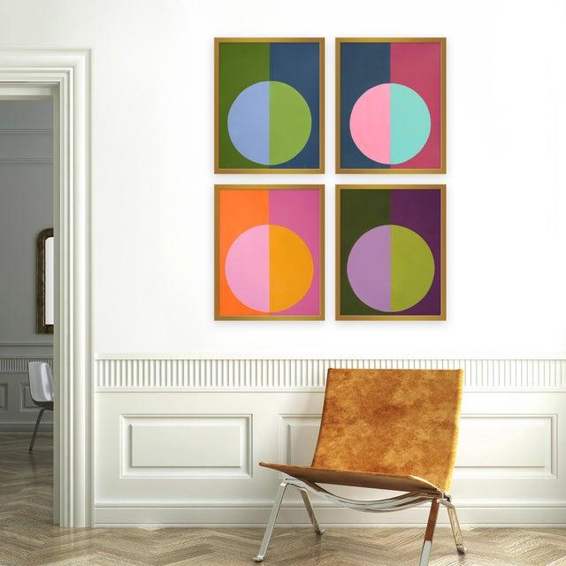 "Set of 4 giclée prints on textured fine art paper with gold frames. Set of 4 measures 50"" x 62""; individual framed print..."