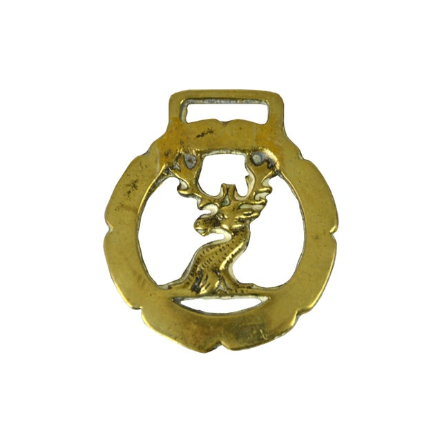 English Traditional Vintage English Brass Stag Equestrian Ornament For Sale - Image 3 of 3