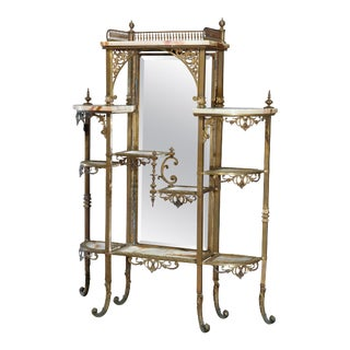 Antique French Victorian Bronze and Onyx Mirrored Étagère For Sale