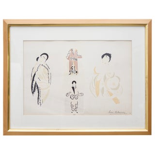 1923 Art Deco Orientalist Fashion Gouache Print by Sonia Delaunay For Sale