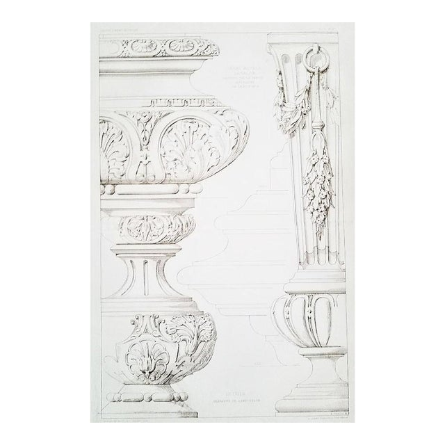 French Architectural Lithograph-Furniture Design 1880s For Sale