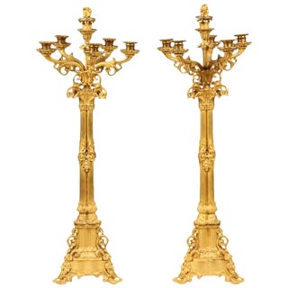 Pair of Large Gilt Bronze Candelabra For Sale