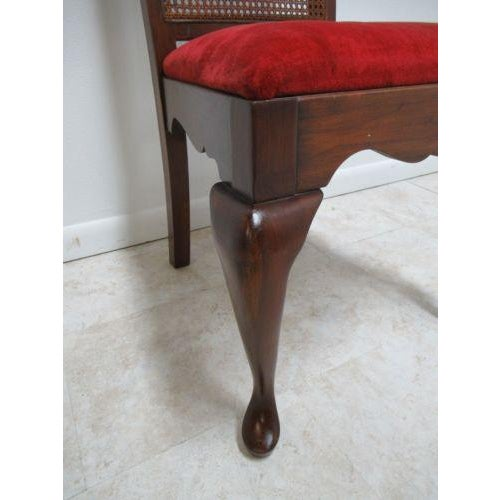 Vintage Thomasville Solid Cherry Queen Anne Caned Side Chair For Sale In Philadelphia - Image 6 of 11