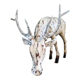 Early 20th Century Large Hand Carved Distressed Painted Stag Sculpture For Sale
