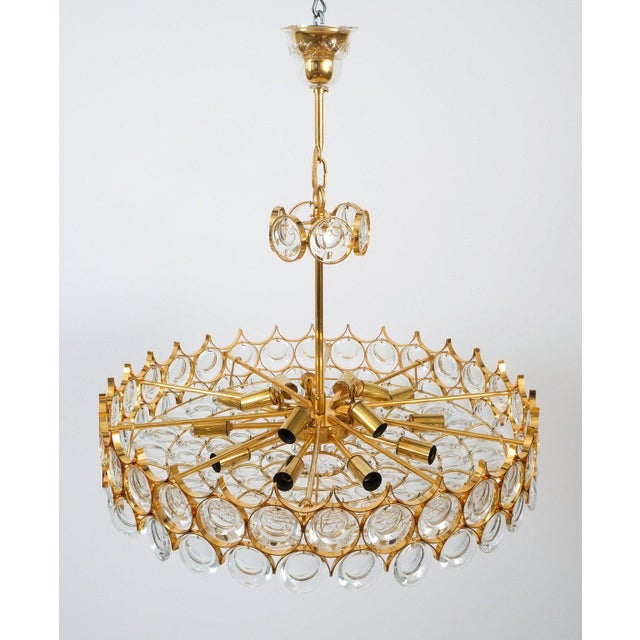 1970s Palwa Gold Brass and Glass Large Chandelier Ceiling Lamp, 1960 For Sale - Image 5 of 10