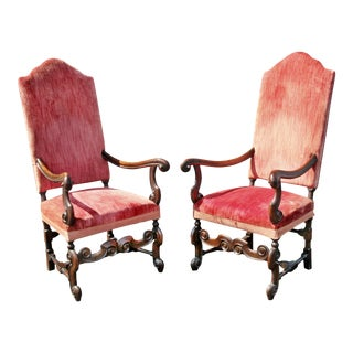 William and Mary Style Walnut Armchairs - a Pair For Sale