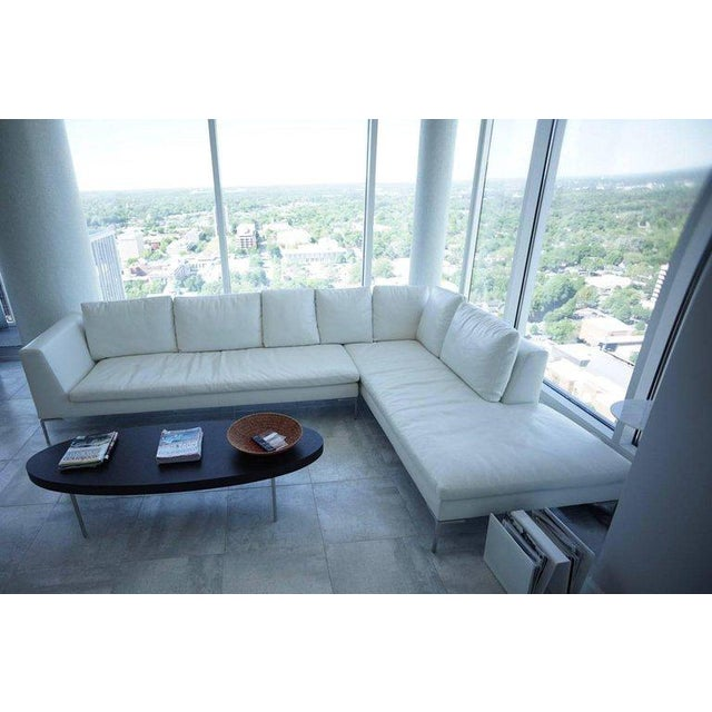 Contemporary B & B Lucrezia Sectional Sofa in White Leather For Sale - Image 3 of 11