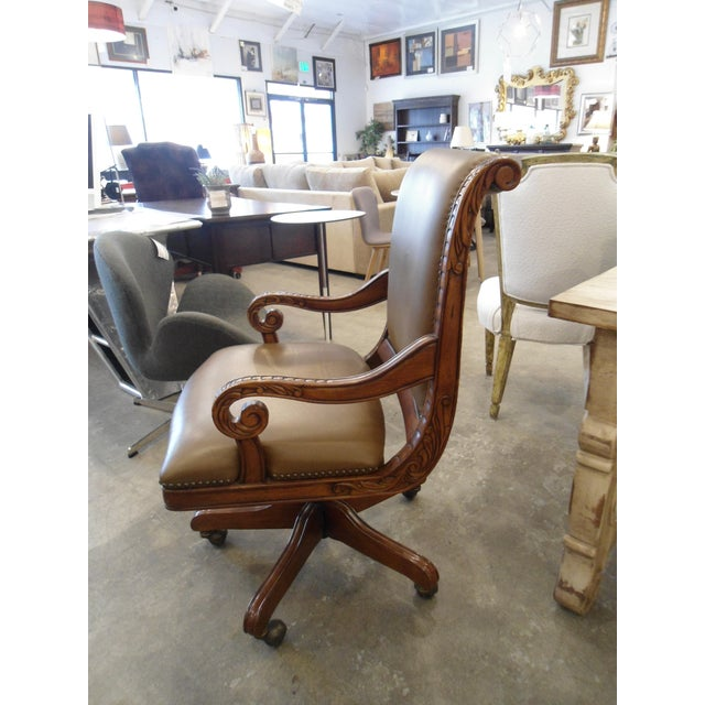 Swivel Office Chair with Tan Vinyl and Wooden Frame - Image 3 of 3
