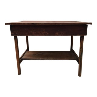 French Wooden Elm Library Writing Console Table For Sale