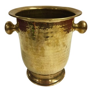 1960s Hammered Brass Ice Bucket For Sale