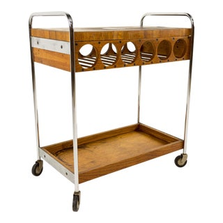 Arthur Umanoff Chrome and Butcher Block Gourmet Bar Cart With Wine Rack For Sale