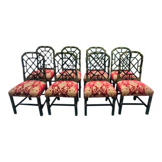Chinese Chippendale Green Lacquered Dining Chairs - Set of 8 For Sale