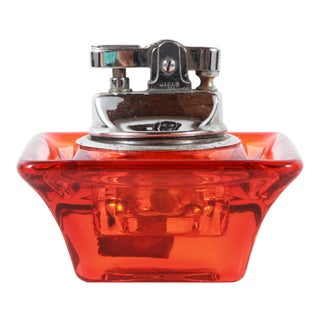 Vintage Mid Century Modern Viking Orange Glass Table Lighter For Sale