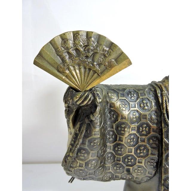 Black Vintage Japanese Brass 'Noh' Figure/Okimono Statue With Okina Mask For Sale - Image 8 of 13