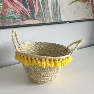 Moroccan Basket With Yellow Tassels Preview