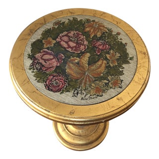Vintage Gold Floral Accent Table, Hand Painted and Signed by Alex Stuart Design