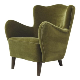 Scandinavian Mohair Lounge Chair For Sale