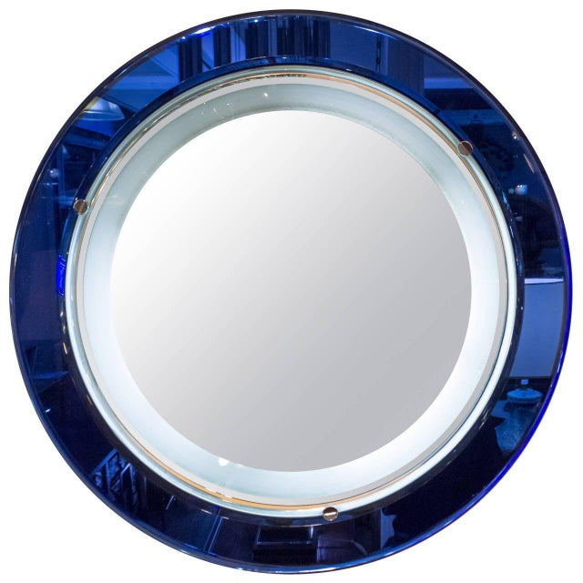 Italian Blue and White Mirror With Backlight in the Style of Fontana Art, 1970s For Sale - Image 10 of 10