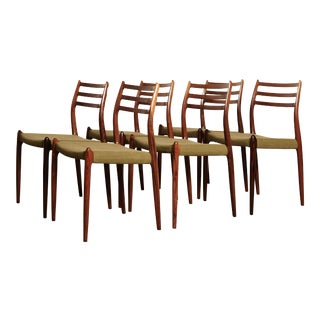Early 20th Century Niels O Moller Model 78 Rosewood Dining Chairs- Set of 6 For Sale