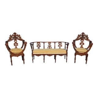 1800s Antique Italian Renaissance Seating Set- 3 Pieces For Sale