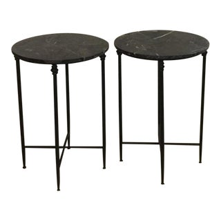 Mid Century Modern Black Metal and Black Marble Round Accent Tables - a Pair For Sale