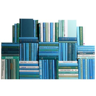 Modern Ocean Book Wall Decorative Books - Set of 100 For Sale