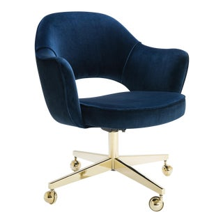 Saarinen Executive Arm Chair in Navy Velvet, Swivel Base, 24k Gold Edition For Sale