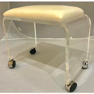 1970s Mid-Century Modern Lucite Vanity Stool Bench Preview