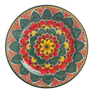Dinner Plate Red, Green & Yellow Peacock Smooth Rim, Geribi For Sale