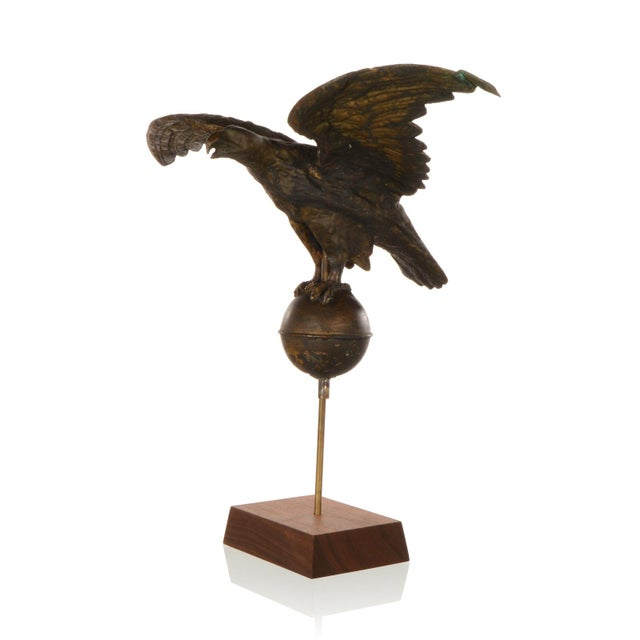 This handsome antique copper weathervane features a majestic flying Eagle. This 19th century Flying Eagle weathervane is a...