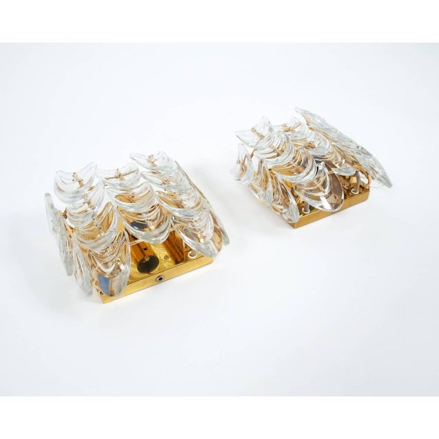 Mid-Century Modern Pair of Gilded Brass and Glass Sconces by Palwa For Sale - Image 3 of 6