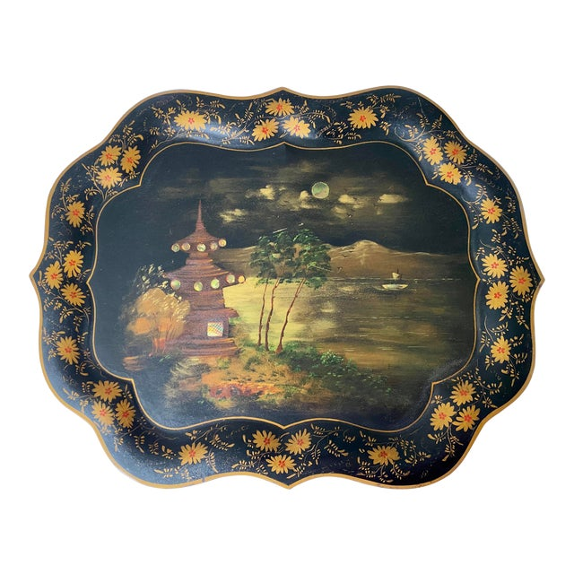 1920s Vintage Tole Chinoiserie Mother of Pearl Inlaid Hand-Painted Tray For Sale