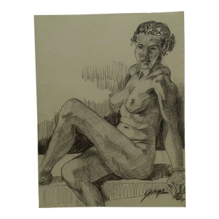 """Mid-Century Modern Original Drawing on Paper, """"Black Woman Leaning Back in the Nude"""" by Tom Sturges Jr. For Sale"""