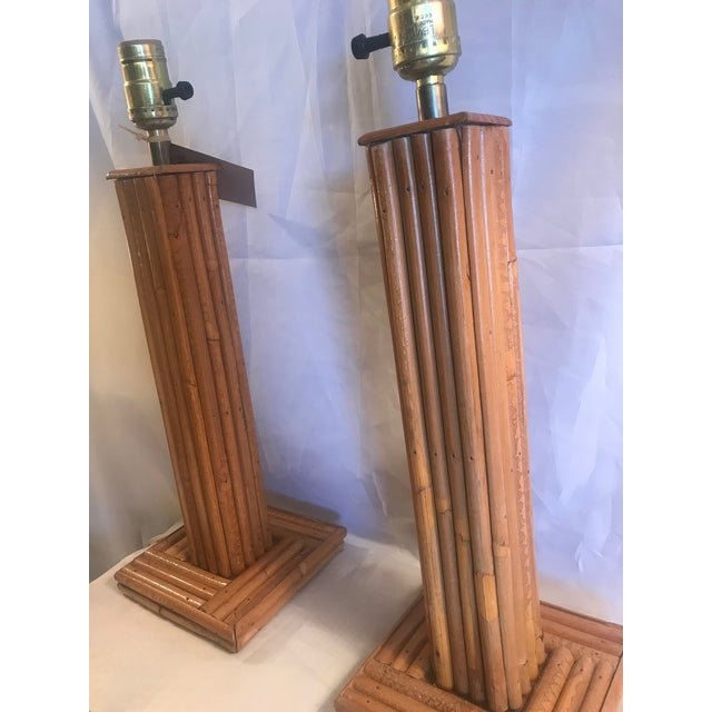 Contemporary Vintage Pencil Bamboo Table Lamps - a Pair For Sale - Image 3 of 8