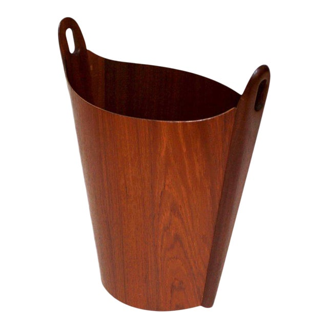 1960s Einar Barnes for P. S. Heggen Teak Wastepaper Basket - Image 1 of 11