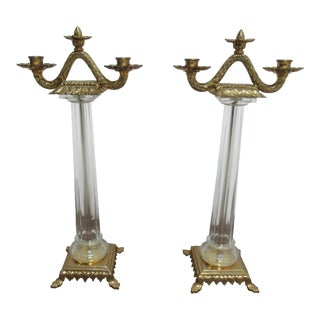 Italian Regency Chapman Brass Glass Candelabras Candle Sticks - a Pair For Sale