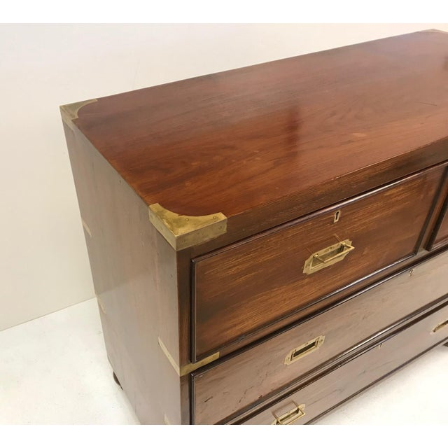 Campaign Pair of Antique Campaign Style Chest of Drawers For Sale - Image 3 of 9