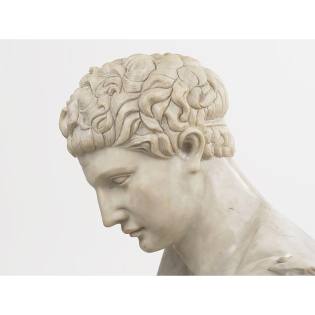 Classical Marble Bust of Hermes Holding Dionysus After the Antique by Praxiteles For Sale - Image 9 of 13