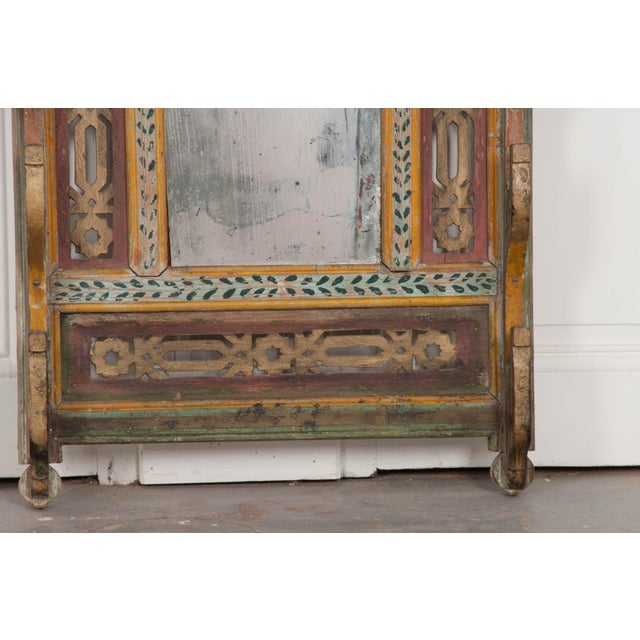 Turquoise Austrian Early 19th Century Hand-Painted Pine Wall Mounted Coat Rack For Sale - Image 8 of 13