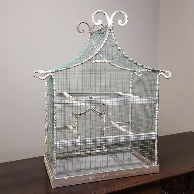 19th Century French Painted Wire Pagoda Birdcage For Sale - Image 9 of 13