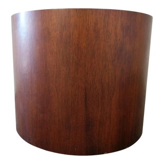 Large Vintage Walnut Drum Side Table For Sale