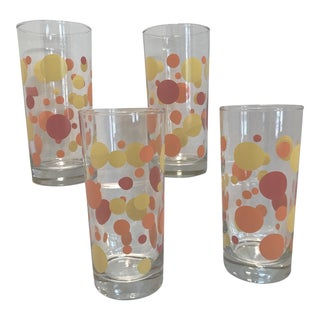1970's Modern Red Orange Yellow Polka Dot Collins Glasses - Set of 4