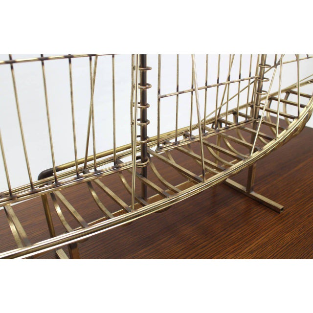Gold Long Brass 1976 Curtis Jere Sail Boat Sculpture For Sale - Image 8 of 10