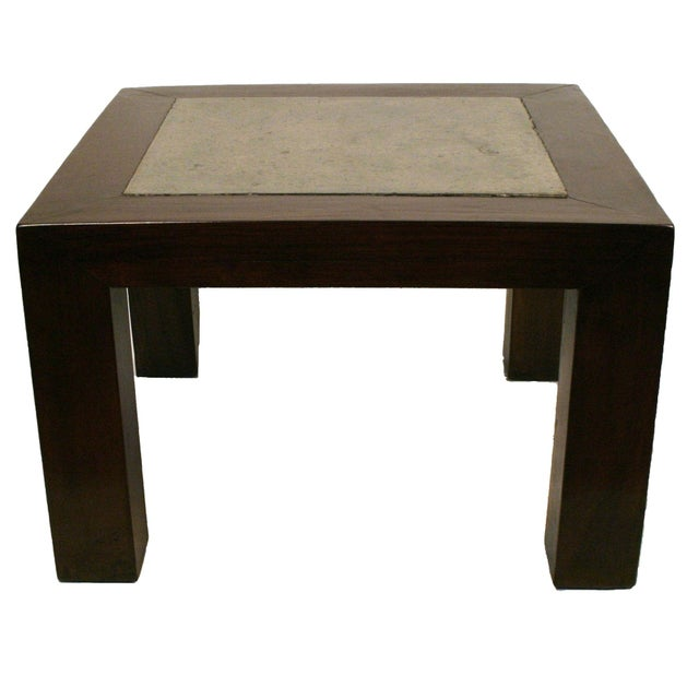 Square Stone Elm Wood Side Table - Image 1 of 3