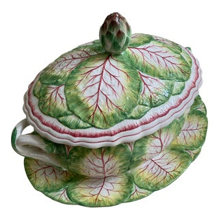 Italian Porcelain Cabbage Soup Tureen For Sale