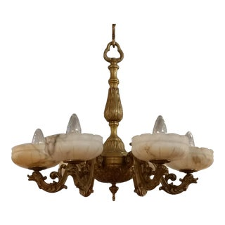 Antique French Bronze Chandelier With Carved Alabaster Shades For Sale