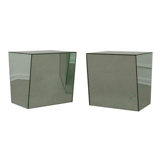 Post Modern Mirrored Asymmetrical Side Tables - Pair For Sale