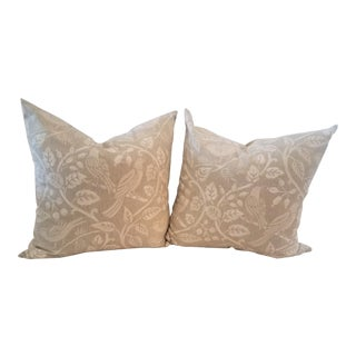 Contemporary Silkscreen Linen Pillows - a Pair For Sale