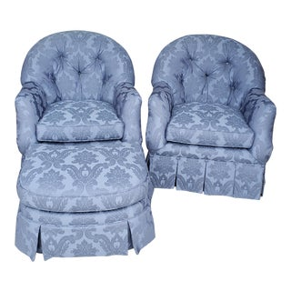 Vintage Century Furniture Tufted Club Chairs With Ottoman - 3 Pieces For Sale