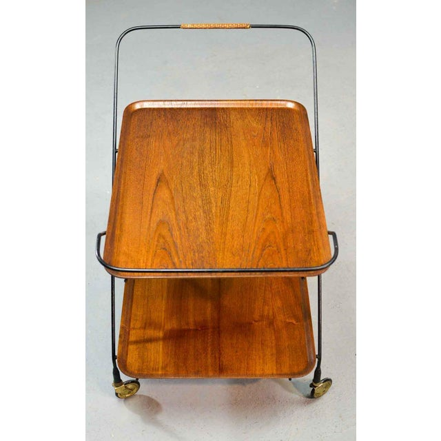 Mid-Century Design Teak and Steel Tea Trolley on Brass wheels by Paul Nagel, Germany 1950s For Sale - Image 12 of 13